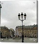 Paris Place Vendome Architecture Monuments Street Lamps And Buildings  Acrylic Print