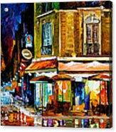 Paris-recruitement Cafe - Palette Knife Oil Painting On Canvas By Leonid Afremov Acrylic Print