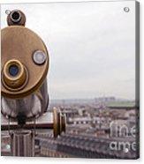 Paris Rooftops Telescope View Of Eiffel Tower - Paris Telescope Rooftop Eiffel Tower View Acrylic Print