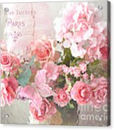 Paris Shabby Chic Dreamy Pink Peach Impressionistic Romantic Cottage Chic Paris Flower Photography Acrylic Print