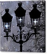 Paris Street Lights Lanterns - Paris Starry Night Dreamy Surreal Starlit Night Street Lamps Of Paris Acrylic Print by Kathy Fornal