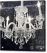 Paris Surreal Silver Crystal Chandelier - Paris Cafe Chandelier Art  Acrylic Print by Kathy Fornal