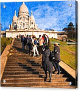 Paris - The Long Climb To Sacre Coeur Acrylic Print by Mark E Tisdale