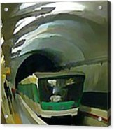 Paris Train In Fisheye Perspective Acrylic Print