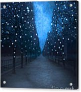 Paris Tuileries Trees - Blue Surreal Fantasy Sparkling Trees - Paris Tuileries Park Acrylic Print by Kathy Fornal