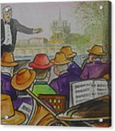 Parisian Hat Band Across From Notre Dame Cathedral Acrylic Print