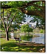 Park Bench By A Lake Acrylic Print