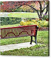 Park Bench By The Pond Acrylic Print