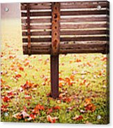 Park Bench In Autumn Acrylic Print