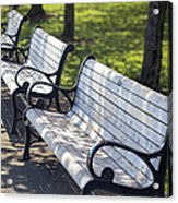 Park Benches At Portland Waterfront Park Acrylic Print