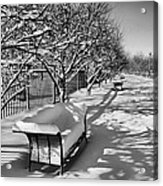 Park Benches Snow Upholstered Acrylic Print