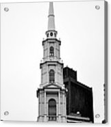 Park Street Church Boston Black And White Acrylic Print