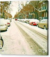 Parked Cars Snowed In Cold December Day Verdun Painting Quebec Winter Scenes Carole Spandau Art Acrylic Print