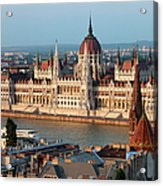 Parliament Building In Budapest At Sunset Acrylic Print