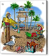 Parrot Beach Party Acrylic Print
