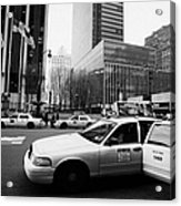 Passenger Gets Out Of Rear Door Of Yellow Taxi Cab On 7th Avenue New York City Usa Acrylic Print