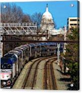 Passenger Metro Train With Us Capitol Acrylic Print