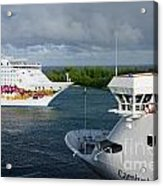 Passing Cruise Ships Acrylic Print