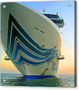Passing Cruise Ships At Sunset Acrylic Print