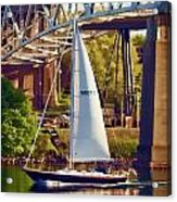 Passing Under The Bridge Photo Art Acrylic Print