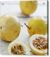 Passion Fruit On A Table Acrylic Print