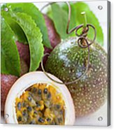 Passion Fruit On An Old Table Acrylic Print