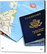 Passport And Map Of Bermuda Acrylic Print