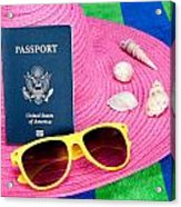 Passport On Pink Hat Acrylic Print