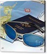Passport Sunglasses And Map Acrylic Print