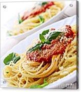 Pasta And Tomato Sauce Acrylic Print by Elena Elisseeva