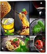 Pasta Collage Acrylic Print by Mythja  Photography
