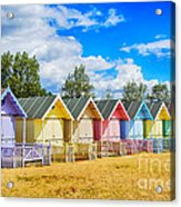 Pastel Beach Huts Acrylic Print by Chris Thaxter