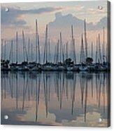 Pastel Sailboats Reflections At Dusk Acrylic Print