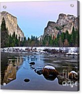 Pastel - Sunset View Of Yosemite National Park. Acrylic Print