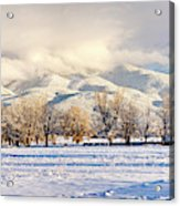 Pasture Land Covered In Snow With Taos Acrylic Print
