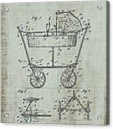 Patent Art Mahr Baby Carriage 1922 Green Acrylic Print