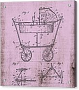 Patent Art Mahr Baby Carriage 1922 Pink Acrylic Print