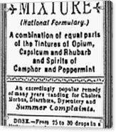 Patent Medicine: Opium Acrylic Print