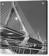 Path To The Leonard P. Zakim Bridge Bw Acrylic Print