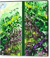 Path To The Unknown Diptych In Green Acrylic Print
