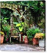 Patio Garden In The Rain Acrylic Print by Susan Savad