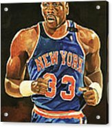 Patrick Ewing New York Knicks Acrylic Print by Michael  Pattison