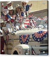 Patriotic Cowgirls Firetruck July 4th Parade Prescott Arizona 2002 Acrylic Print