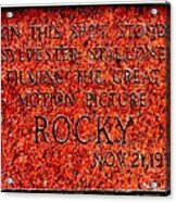 Pats Steaks - Rocky Plaque Acrylic Print