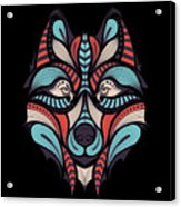 Patterned Colored Head Of The Wolf Acrylic Print