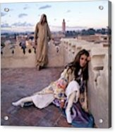 Paul Getty Jr And Talitha Getty On A Terrace Acrylic Print