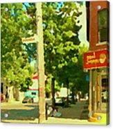 Paul Patate Pte St Charles Fast Food Restaurant Rue Charlevoix Street Scene Carole Spandau Acrylic Print