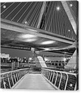 Paul Revere Park And The Zakim Bridge Bw Acrylic Print