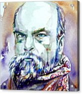 Paul Verlaine - Watercolor Portrait.1 Acrylic Print