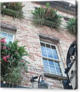 Paula Deen Savannah Restaurant Flower Boxes Acrylic Print by Kathy Fornal